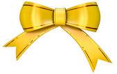žlutá saténová dar luk — Stock fotografie