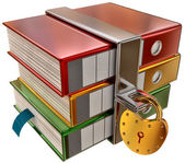 Three colored folders with hinged lock — Stock Photo
