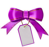 Lilac Christmas bow with label — Zdjęcie stockowe