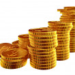 Stacks of gold dollar coins — Stock Photo #13856372