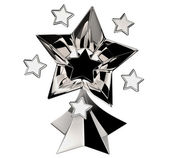 Set of seven shiny silver stars in motion — Stock Photo