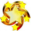 Set of six shiny gold stars in motion — Stock Photo #13894788