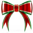 Stock Photo: Red with green plastic gift bow