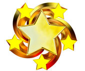 Conjunto de seis estrelas de ouro brilhantes em movimento — Fotografia Stock