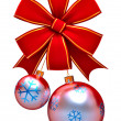 Christmas balls with red bow - Foto de Stock