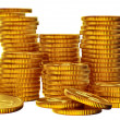 Stacks of gold dollar coins — Stock Photo #13922405
