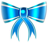 Blue with silver gift bow — Stock Photo