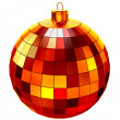 Red Christmas ball on white background — Stock fotografie