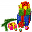 Christmas tree toys and set of gifts with red bows - Photo