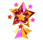 Set of seven shiny gold stars in motion — Stock Photo