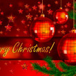 Christmas background with balls and fir branch - Foto de Stock