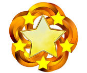 Set of six shiny gold stars in motion — Stock Photo