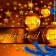 Photo: Christmas background with balls and fir branch