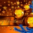 Christmas background with balls and fir branch - Stok fotoğraf