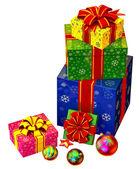 árbol de navidad juguetes y un conjunto de regalos con lazos rojos — Foto de Stock