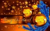 Christmas background with balls and fir branch — Stok fotoğraf