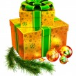 Christmas set of gifts with green bow - Stock Photo