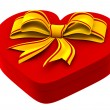 Heart shaped box with golden bow for gift — Stock Photo