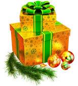 набор рождественских подарков с зеленым луком — Стоковое фото