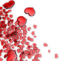 Set of red glass hearts — Stock Photo