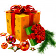 Christmas tree toys and set of gifts with red bows - ストック写真