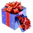 Two blue gifts with red bows - ストック写真