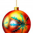 Red Christmas ball on white background — Stockfoto