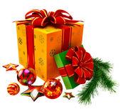 новогодние игрушки и набор подарков с красный лук — Стоковое фото