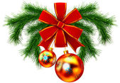 Christmas balls with red bow — Stock Photo