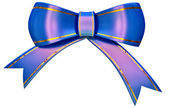 Blue satin gift bow — Stock Photo
