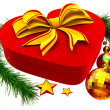 Christmas tree toys and gift with golden bow - Stockfoto