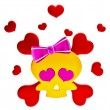 Day of The Dead skull and crossbones with hearts - Stock Photo