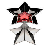 Shiny silver star with red star core — Stock Photo