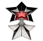 Shiny silver star mit roten stern kern — Stockfoto