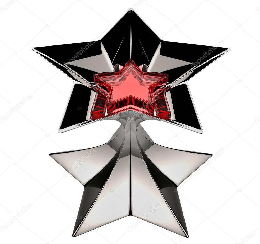 Shiny silver star with red star core in motion for advertise — Zdjęcie stockowe #14946417
