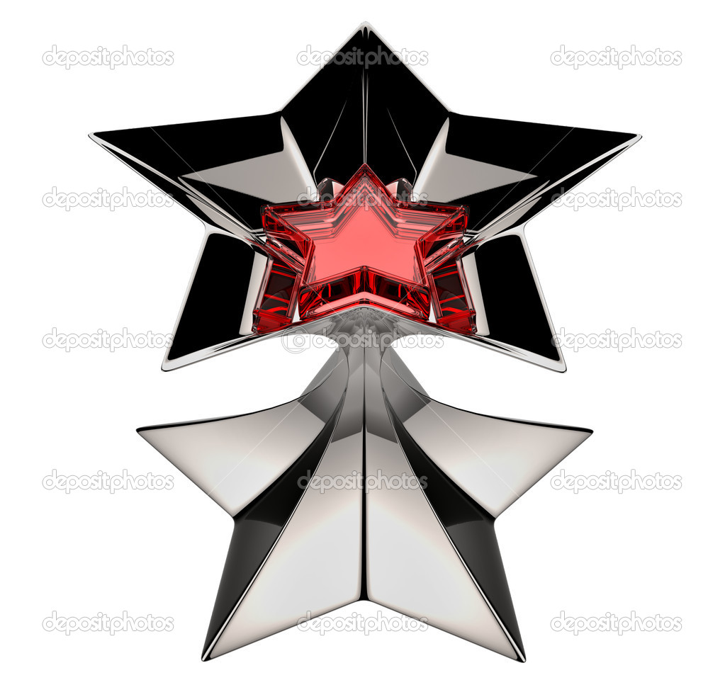 Shiny silver star with red star core in motion for advertise — Stock fotografie #14946417