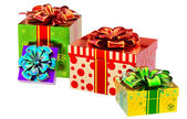 Set of gifts with bows — Stock Photo