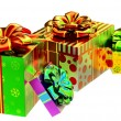 Set of gifts with bows - Stock Photo