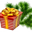 Gift with golden bow - Stock Photo