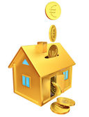 Falling down euro coins to the money box — Stock Photo