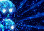 Colorful funky background with mirror disco balls — Stock Photo