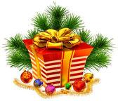 クリスマス ツリーのおもちゃおよびギフト黄金の弓を — ストック写真