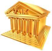 3D golden symbol of a bank building — Stock Photo