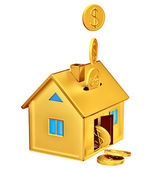 Dollar coins falling down to the money box — Stock Photo