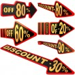 Set of arrow labels for sales with discounts — Stock Photo #16614459