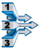 Ein zwei drei - symbol-fortschritt für drei schritte — Stockfoto