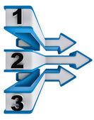 één twee drie - symbool vooruitgang voor drie stappen — Stockfoto