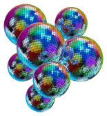 Colorful mirror disco balls — Stock Photo