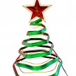 Christmas tree with red star — Stock Photo