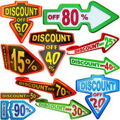 Set of arrow labels for sales with discounts — Stock Photo